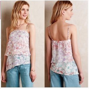 Anthropologie Maeve Daisy Silk Top S